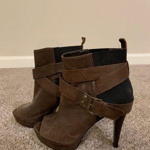 Peep toe brown booties